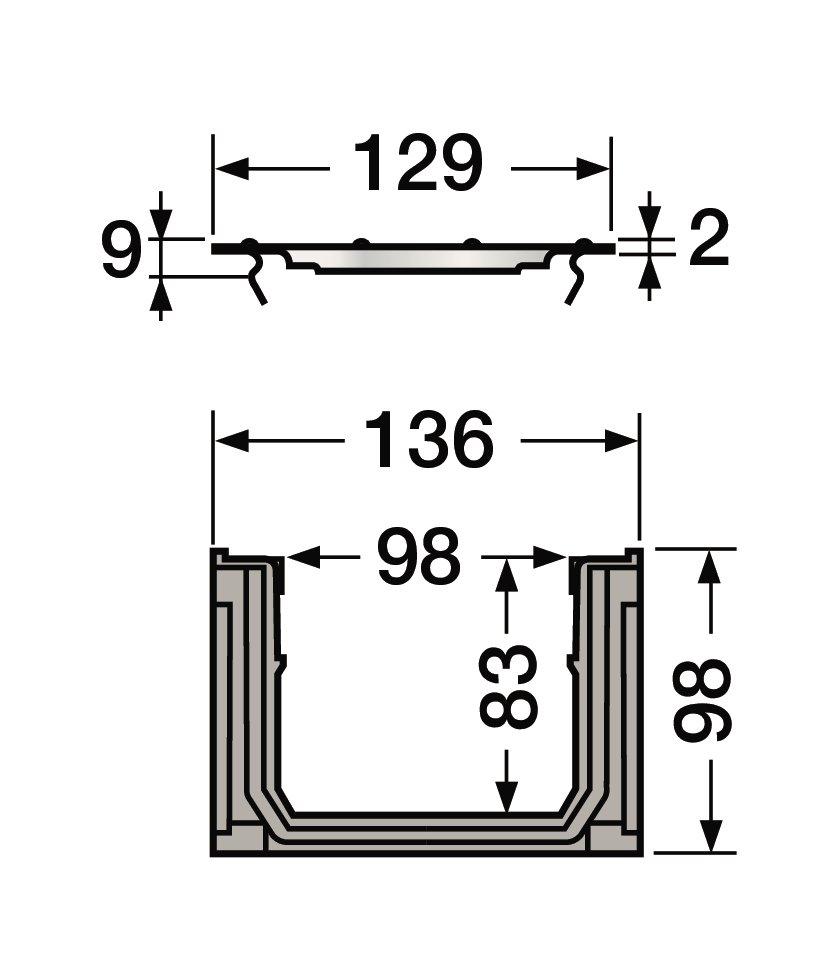 caniveau avec grille acier a15 l100 int 130 ext connecto nicoll. Black Bedroom Furniture Sets. Home Design Ideas
