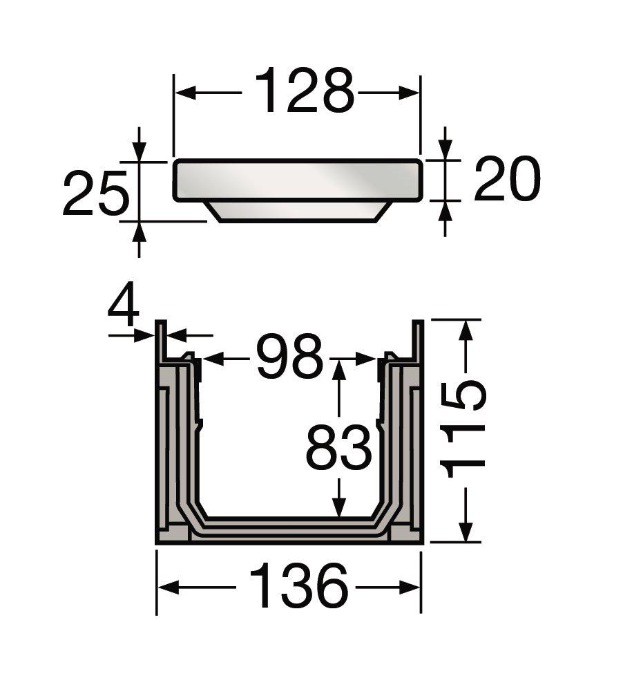 caniveau avec grille acier b125 l100 int 130 ext connecto nicoll. Black Bedroom Furniture Sets. Home Design Ideas