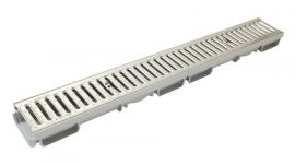 1M CANIVEAU BAS LARG.130 GRILLE A15 PASS.INOX
